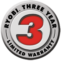 Ryobi three year warranty logo