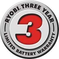 Ryobi three year battery warranty logo